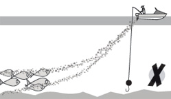 Illustration of berley pulling fish away from your bait